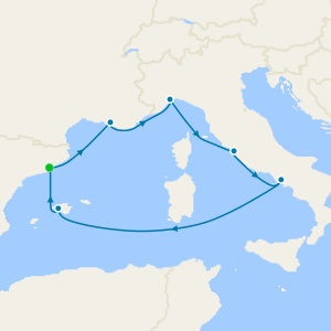 Spain, France, Italy & Balearic Islands from Barcelona