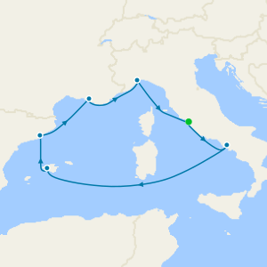 Italy, Balearic Islands, Spain & France from Rome