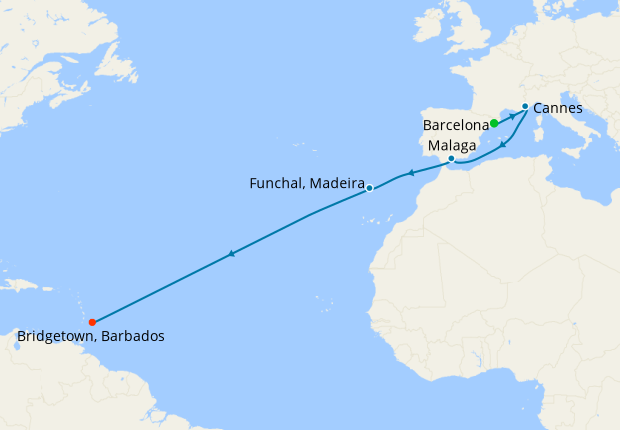 Transatlantic from Barcelona to Barbados