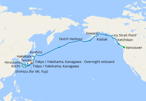 Pacific Passage & Asian Majesty - Vancouver to Tokyo