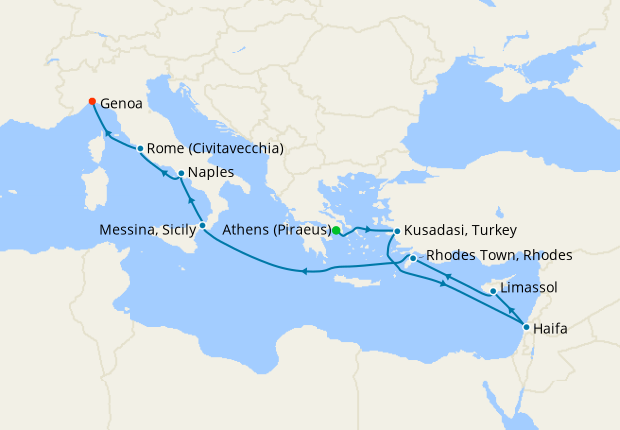 Greece, Turkey, Israel, Cyprus & Italy from Athens to Genoa