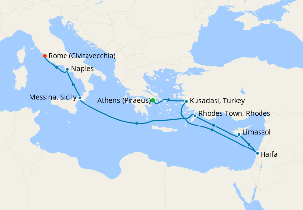 Greece, Turkey, Israel, Cyprus & Italy from Athens to Rome