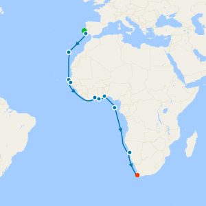 Iberia to the Ivory Coast from Lisbon to Cape Town