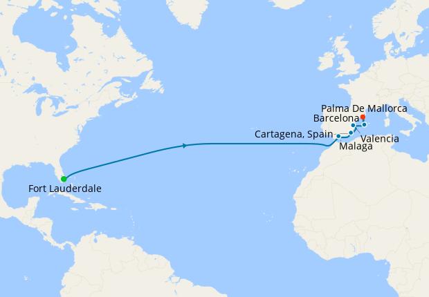 Transatlantic from Ft. Lauderdale to Barcelona