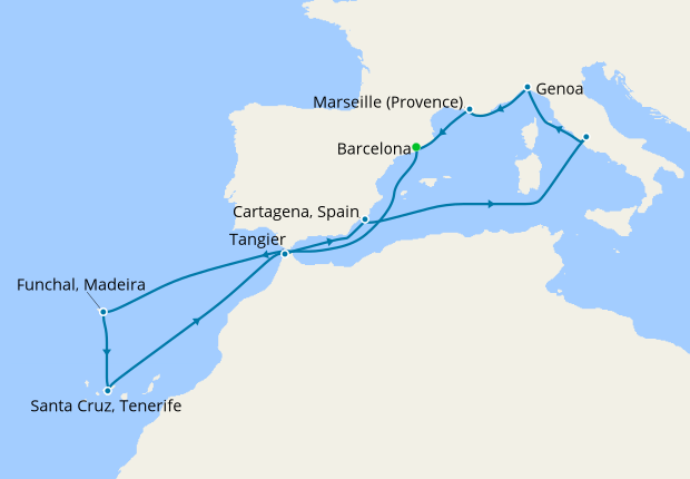 Map Of Spain Portugal And Morocco.Italy France Spain Portugal Morocco From Barcelona Msc